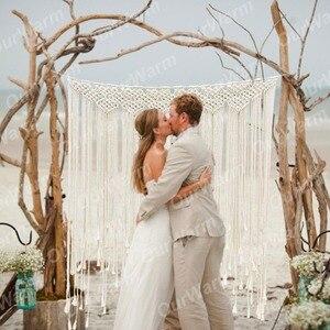 Image 2 - OurWarm Boho Wedding Decoration Macrame Wedding Backdrop 100x115cm Cotton Rope Photo Booth Backdrop Macrame Wall Hanging