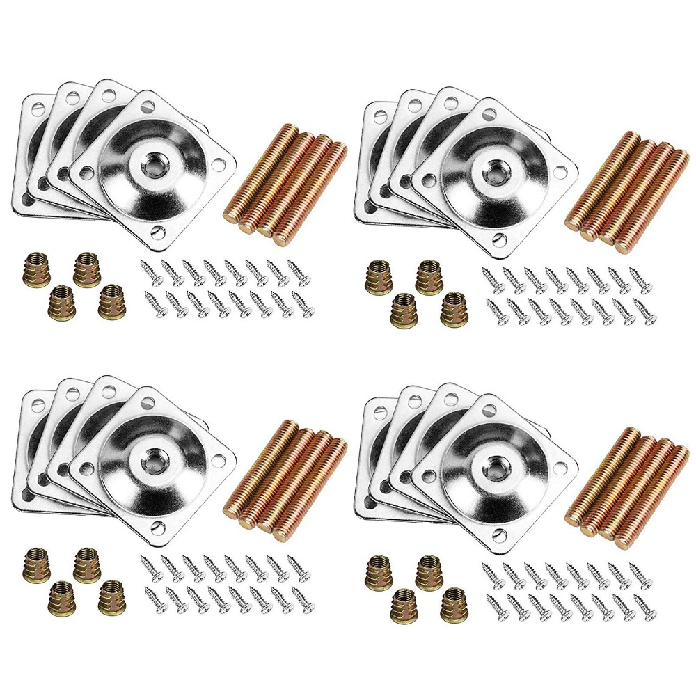 16Pcs Sofa Table Leg Connector Mounting Plates Furniture Fixed Attachment Iron Bracket With M8 Hanger Bolts Screws