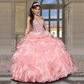 Vestidos De 15 Anos rosa De cristal De luxo frisada Quinceanera Ruffles vestido De baile Vestidos De Debutante vestido para 15 Anos