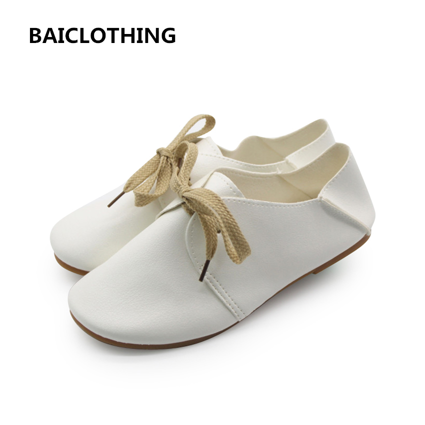 BAICLOTHING zapatos de mujer women pu leather flat shoes female lace up spring & summer flats lady cute retro casual white shoes new brand black white vintage women footwear lace up casual oxford flat shoes woman british style breathable zapatos mujer