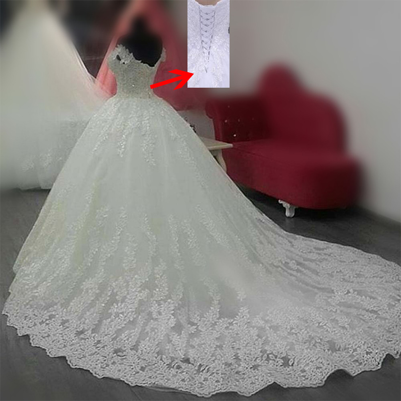 MN055 Vestido de noiva Luxury Princess Ball Gown Wedding Dresses 2018 Cheap Off the shoulder Lace