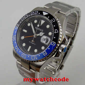 40mm Parnis black dial Sapphire glass GMT date window automatic mens watch P877 - DISCOUNT ITEM  21% OFF All Category