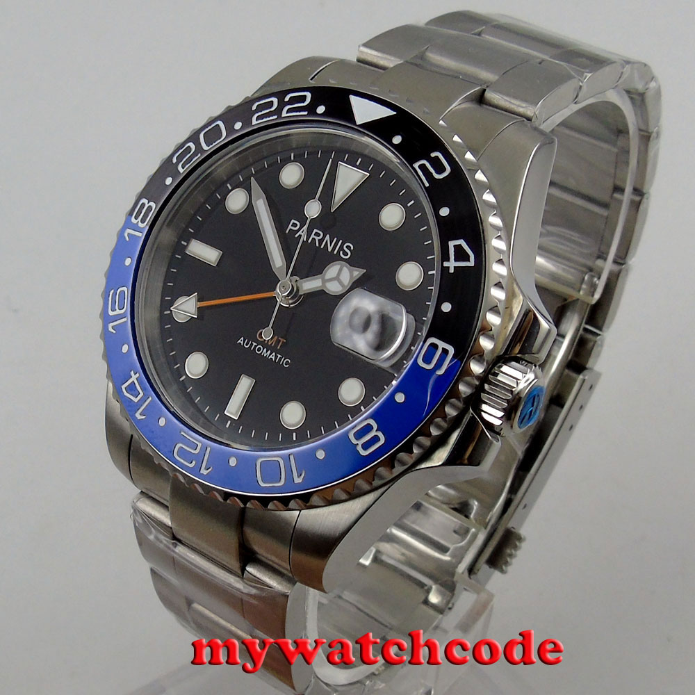 40mm Parnis zwarte wijzerplaat saffierglas GMT datum venster automatische herenhorloge P877-in Mechanische Horloges van Horloges op  Groep 1