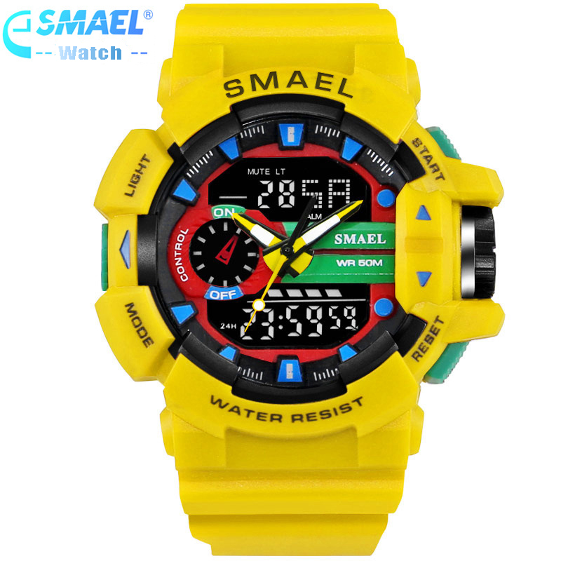 SMAEL Luxury Brand Men Sports Watches Clock S-Shock Wristwatches 50m Water Resistant Relogio Masculino For Mens Quartz Watch,