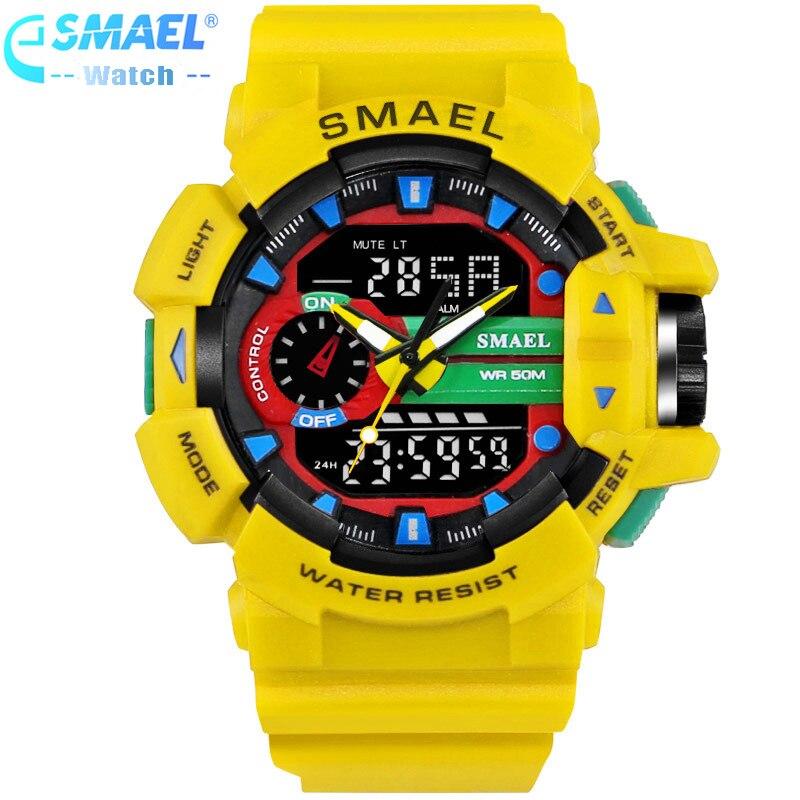 SMAEL Marque De Luxe Hommes Sport Montres Horloge S-Choc Montres 50 m Résistant À L'eau Relogio Masculino Pour Mens Quartz montre,