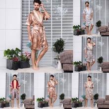 Летние модные шелковые пижамы с длинными рукавами для дома, тонкие мужские пижамы