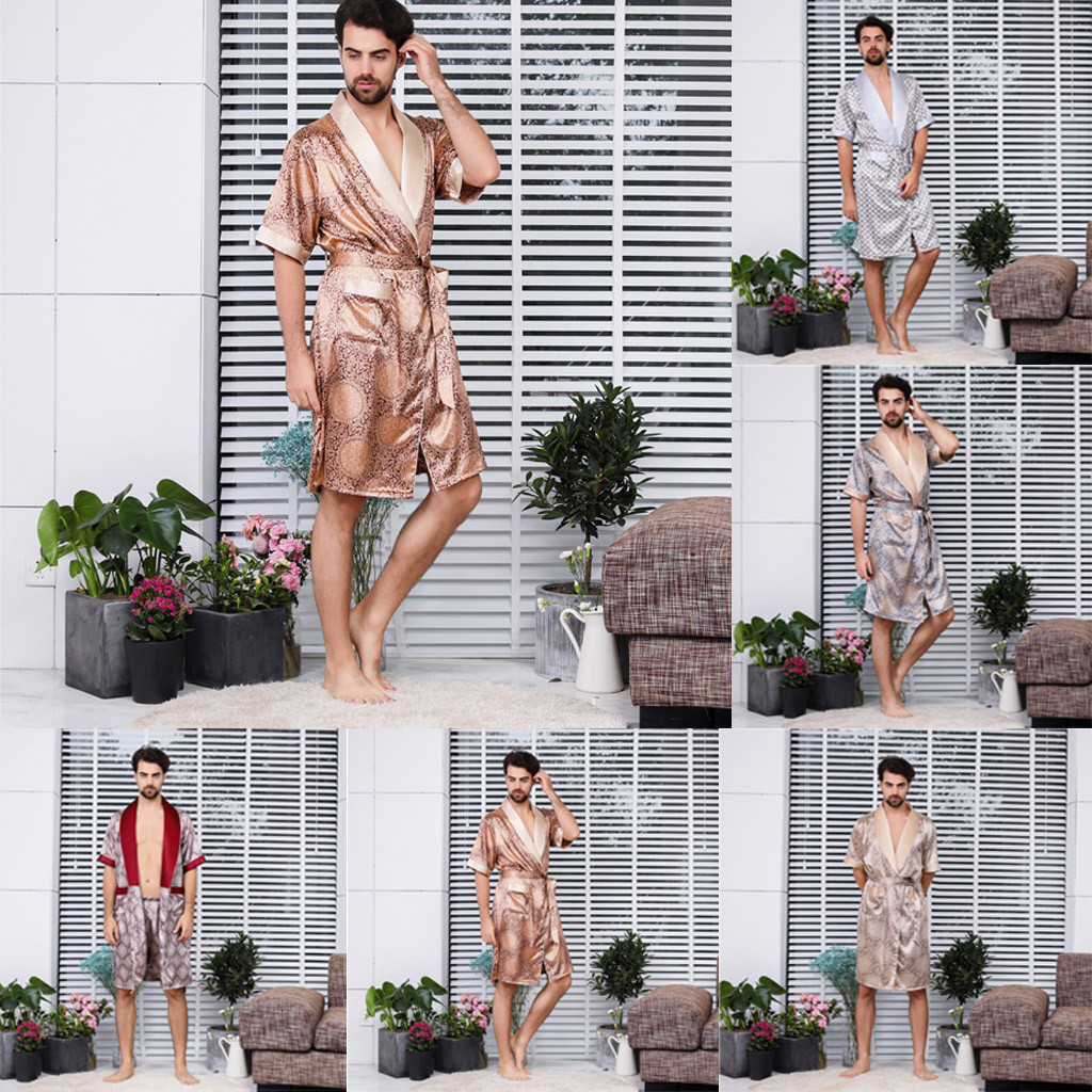 Summer Fashion Simulation Silk Long Section Sleeves Home Service Thin Men's Pajamas Set Wholesale Free Ship пижама мужская Z4