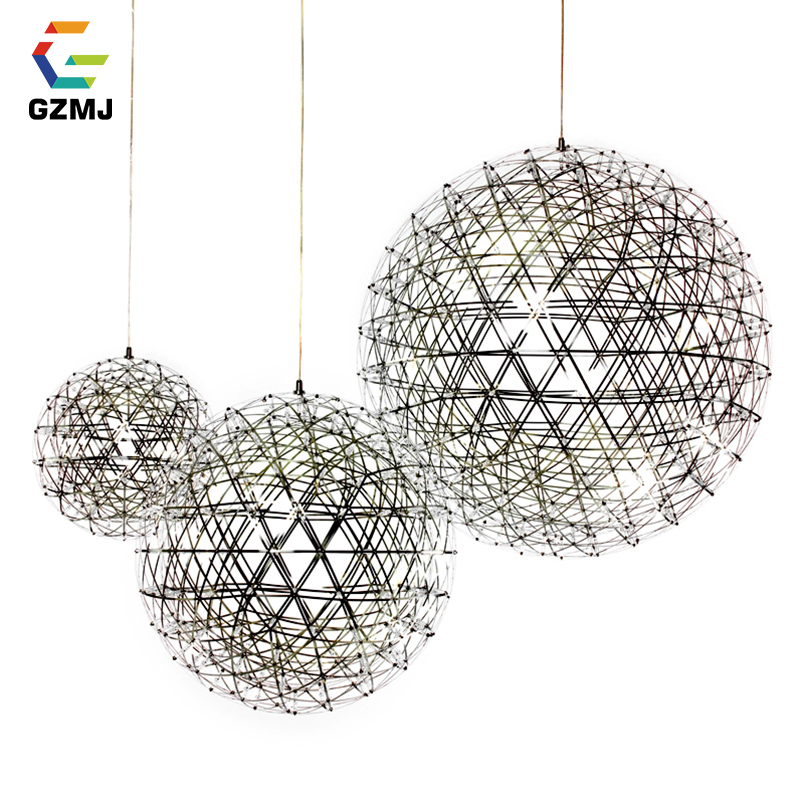 GZMJ Brief Spark Globe LED Pendant Lights Art Deco Firework Ball Stainless Steel Hanging Lamp Loft Light Fixtures for Home Deco art deco
