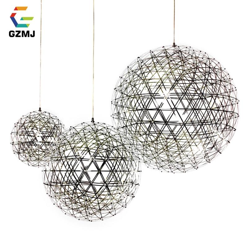 GZMJ brève étincelle Globe pendentif LED lumières Art déco boule de feu d'artifice en acier inoxydable lampe suspendue Loft luminaires pour la décoration intérieure