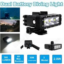 Free shipping! Underwater 300 Lumes Dual battery Diving Light Mount for GoPro Hero 4 hero3+ 3