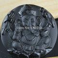 1pc Carved Natural Black Obsidian Stone Ganesh India Elephant God Stone Pendant