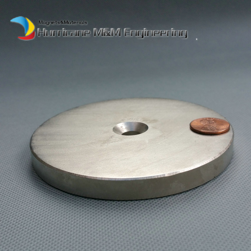 NdFeB Disc Magnet Dia. 100x10 mm thick M10 Screw Countersunk Hole Holding and Lifting Neodymium Rare Earth Permanent Magnet ndfeb n42 magnet large disc od 100x10 mm with m10 countersunk hole 4 round strong neodymium permanent rare earth magnets