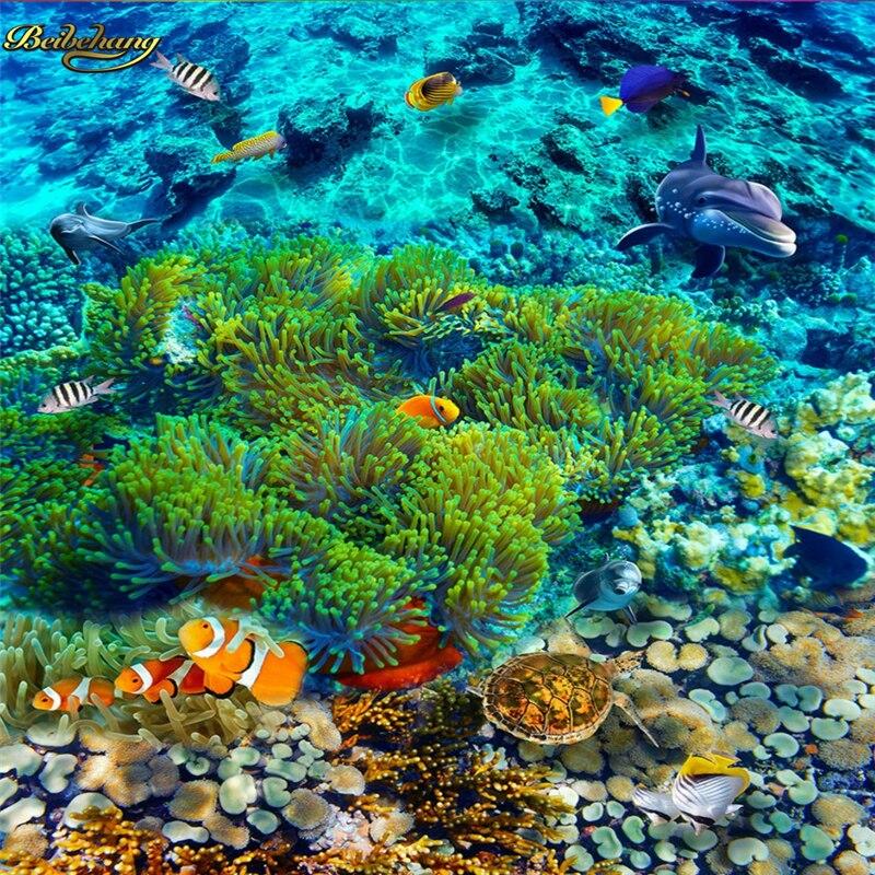 Us 198 40 Offbeibehang Custom Photo 3d Floor Painting Wallpaper Underwater World Tropical Fish 3d Floor Papel De Parede In Wallpapers From Home