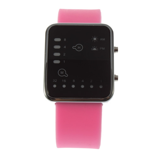 Esporte led relógios rosa moda feminina relógio de pulso quadrado casal presente silicone marca de luxo silicone led binary watch 6