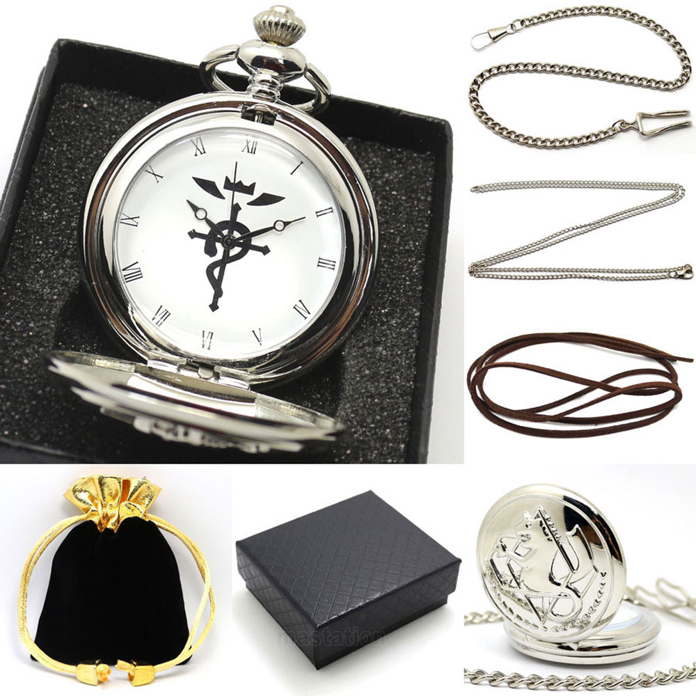 2016 New Pocket Watch Set Fullmetal Alchemsit Edward Silver Antique Fob Watches With Gift Box Necklace Chain Leather Strap Gifts top high quality fashion fullmetal alchemist quartz pocket watch sets with necklace ring set men women gifts box free shipping