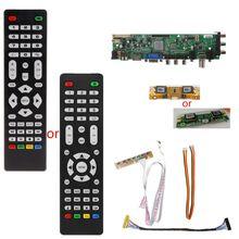 1 компл. пульт дистанционного управления V56 V59 ЖК-телевизор драйвер платы DVB-T2 + 7 ключ переключатель + IR + 4 ламповый Инвертор + LVDS комплект 3663 ТВ драйвер платы комплект