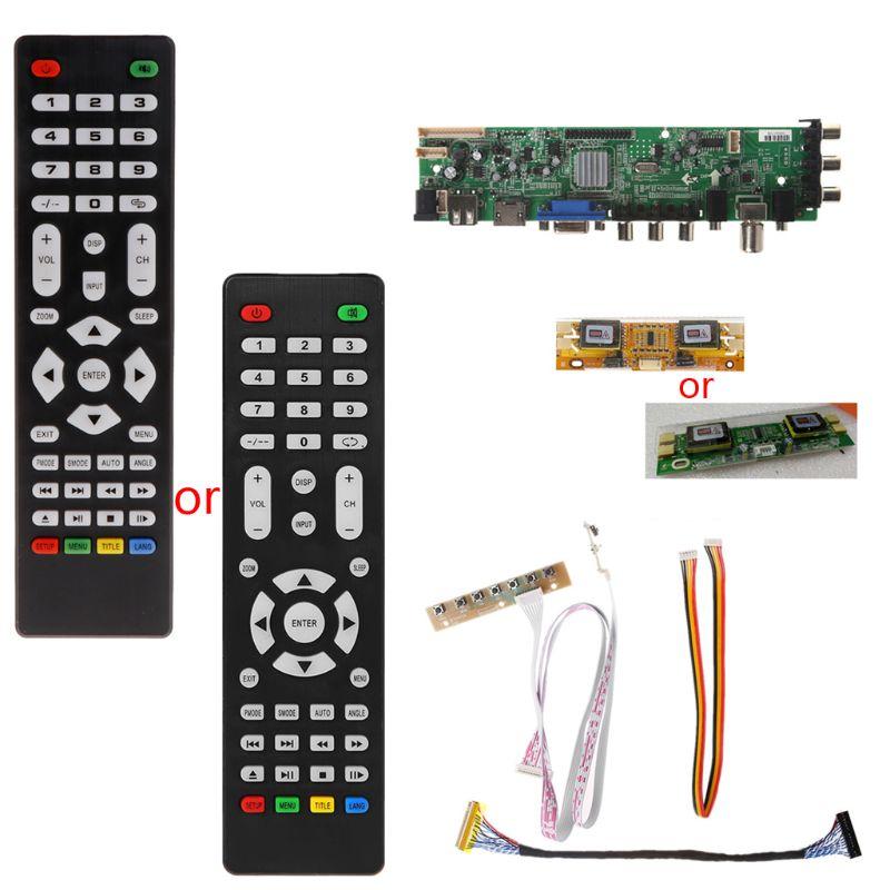 1 set Remote Control V56 V59 LCD TV Driver Board DVB T2+7 Key Switch+IR+4 Lamp Inverter+LVDS Kit 3663 TV Driver Board Kit
