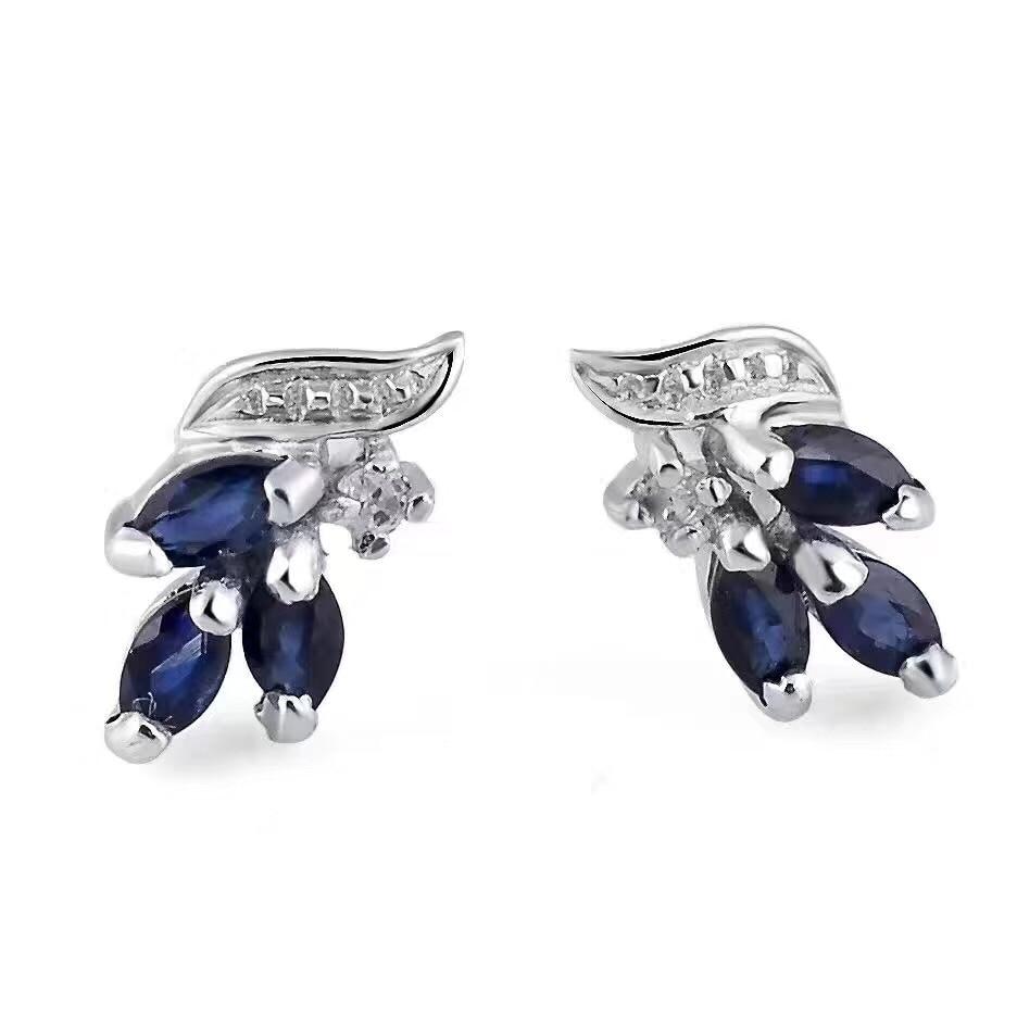 Sapphire stud earring Natural real blue sapphire earrings 925 sterling silver For men or women jewelry yoursfs female white & blue fire opal stud earring turtle shape design 925 sterling silver filled jewelry earrings for women