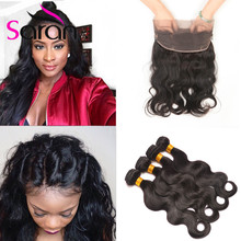 Hot Sale 360 Lace Frontal Closure With Bundles Brazilian Body Wave Virgin Hair Pre plucked 360 frontal with Baby Hair and Bundle