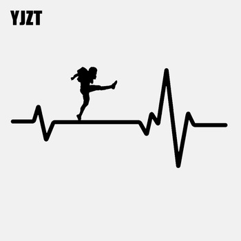 YJZT 16.4CM*7.7CM Football Punter Kicking Ball Punt Heartbeat Vinyl Black/Silver Car Sticker C22-1170 image