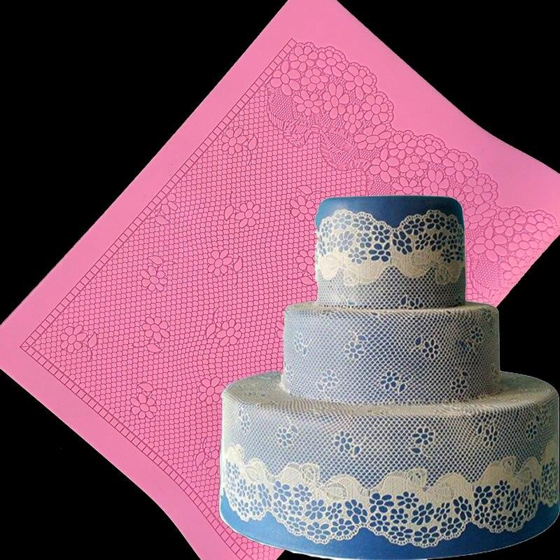 minsunbak New Development 40CM Large lace Silicone pad Lace silicone mold Beautiful pop cake border decoration tool