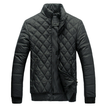Lesmart Men's Winter Coat Diamond Stand Collar Cotton Padded Solid Lightweight Windproof Waterproof  Short Quilted Jacktet