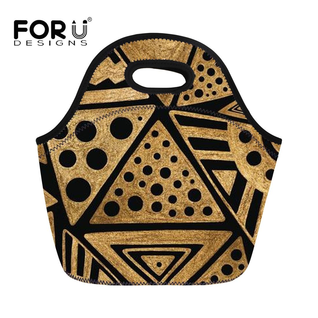 FORUDESIGNS Neoprene Lunch Bags Cooler Waterproof Africa Geometric Pattern for Picnic Food Women Kid Zipper Portable Snacks Tote