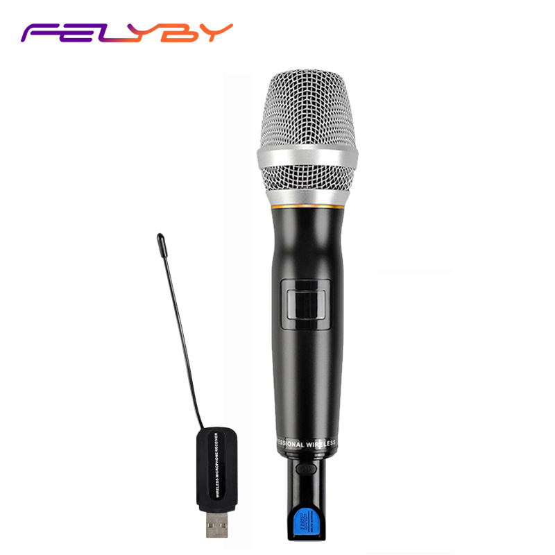 New Karaoke Charging Wireless Microphone with Receiver Box Full-Metal professional Dynamic microphone for computer Handheld Mic professional karaoke wireless microphone system 2 channels led display receiver cordless handheld mike for mixer stage computer