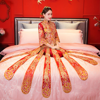 Red Wedding dress traditional chinese Qipao National Costume Womens Overseas New China Style Bride Embroidery Cheongsam S-XXL