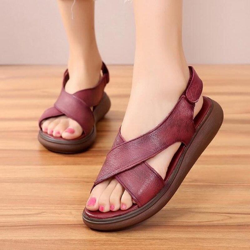 Épais Grande red De Trou Femme Décontracté Plates Sandales Bout Femmes Pour En D'été Obuv Chaussures khaki Taille Ouvert À Fond Black Creux Cuir fwqw4FE8