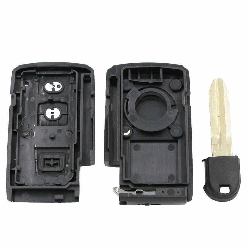 2 botão remoto inteligente caso escudo chave do carro habitação chave para toyota prius 2004-2009 corolla verso camry + inserir chave (lâmina sem corte)