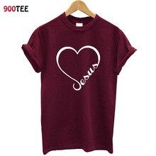 Love Heart Jesus Faith T Shirt Women Short Sleeve Funny Christian Graphic Tshirt Loose Tee 2019 Clothes Brand