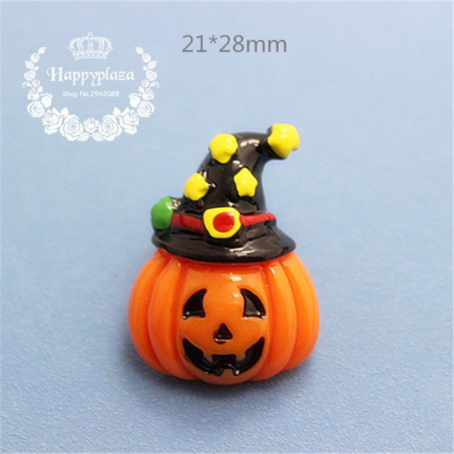 10 unids resina flatback Cabochon calabaza con sombrero de Halloween  miniatura arte suministro decoración encanto artesanía 3a1939f4b5d