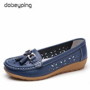 Image 1 - Dobeyping mocassins dété pour femmes, chaussures ajourées en vrai cuir, chaussures plates, mocassins respirants, tailles 35 à 41, collection 2018