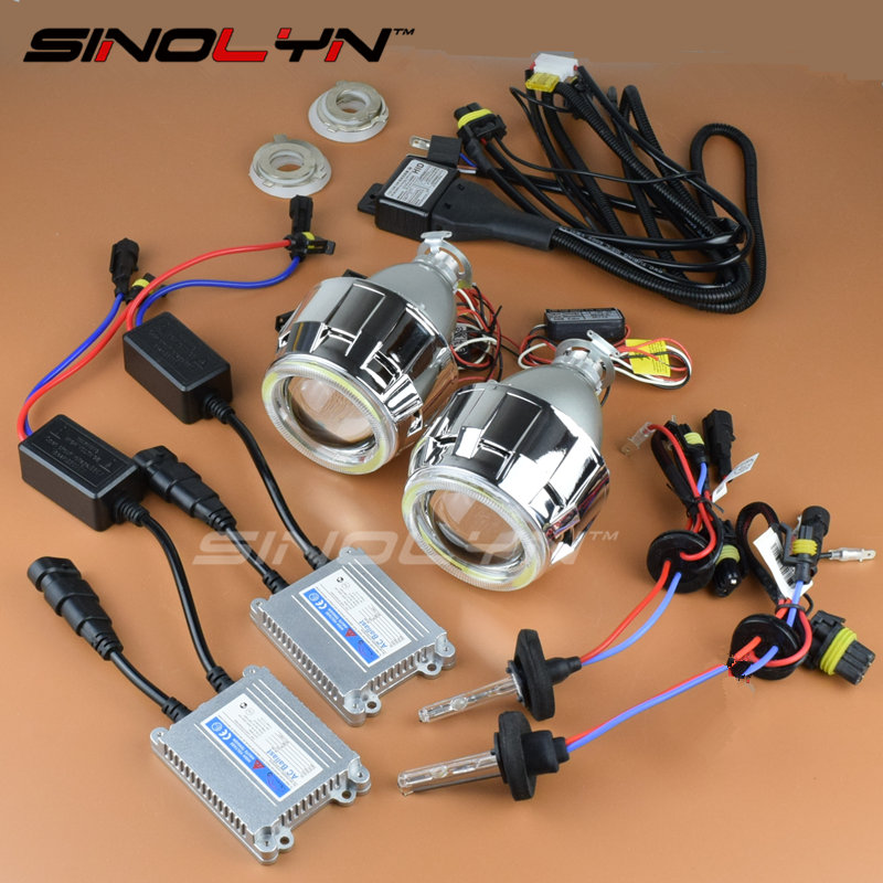 SINOLYN Metal COB LED Angel Eyes Halo 2.5'' Pro Leader HID Bi xenon Projector Headlight Lens DRL Kit 4300K 6000K 8000K H4 H7 sinolyn upgrade 8 0 car led cob angel eyes halo bi xenon headlight lens projector drl devil demon eyes h1 h4 h7 kit retrofit diy
