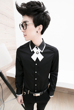 Summer personalized preppy style male long-sleeve shirt slim men's clothing fashion shirt stage singer costumes clothing