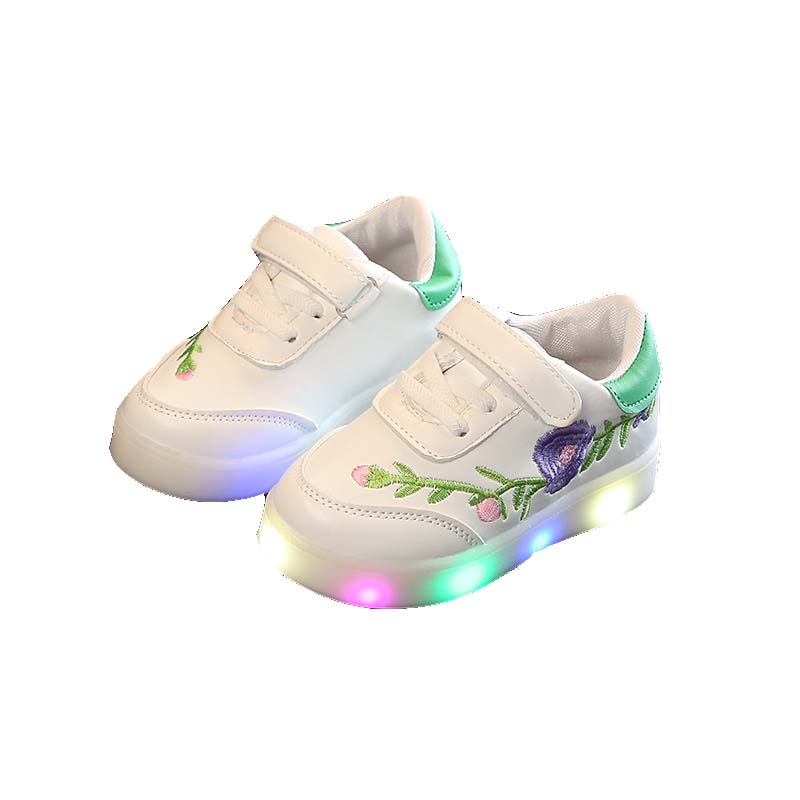 Led Girls Boys Shoes Spring/Autumn Lighted Embroidery Flower Breathable Baby Girl Boy Sneakers Kids Shoes