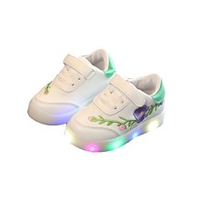Led Girls Boys Shoes Spring/Autumn Lighted Embroidery Flower