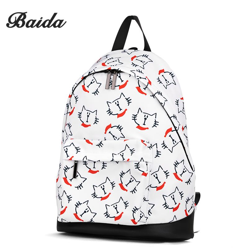 BAIDA New Fashion Printed Backpacks Cute Animal Pattern Prints Rucksack Casual Travel School Backpack Student Bags for Girls instantarts cute children pug dog backpack men felt travel backpacks for teenege boys 3d animal printed student school bagpack