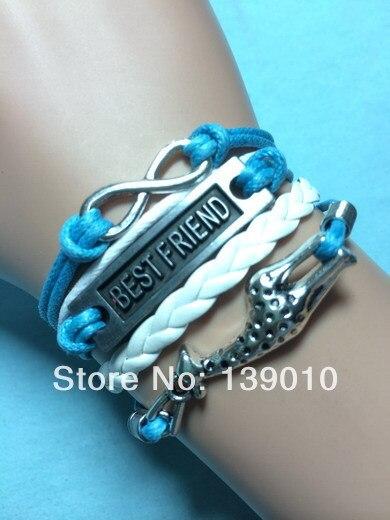 3659066781387 Tressé Blanc Et Bleu En Cuir Cordon Bracelets Argent Alliage Girafe  Meilleur Ami Infinity Bracelet De Mode Femmes Hommes Marque Bijoux