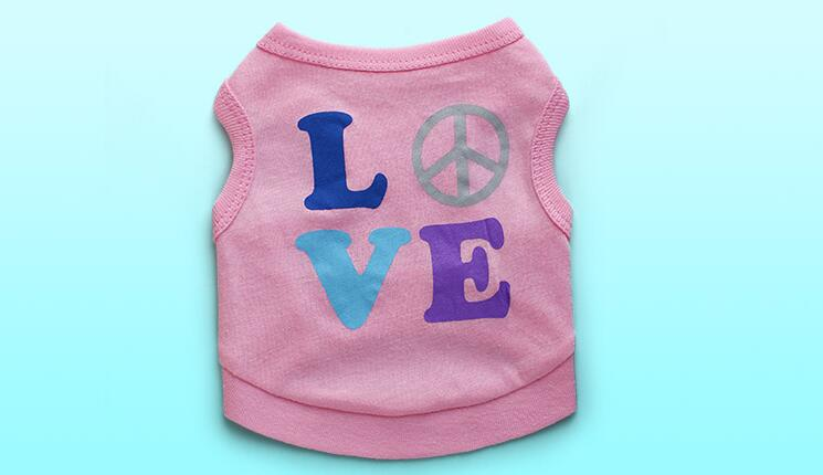 On sale pet dog cat fashion pink printed vest clothes doggy summer style t shirt clothing puppy t shirts dogs cats vests 1pcs