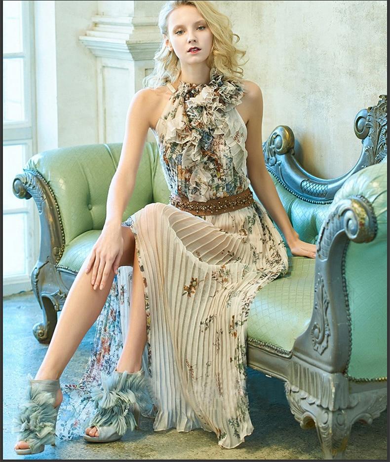 See Orange Vintage Pleated 2018 Summer Maxi Dress Women Sexy Halter Floral Beach Dress Chiffon Party Dress SO6791