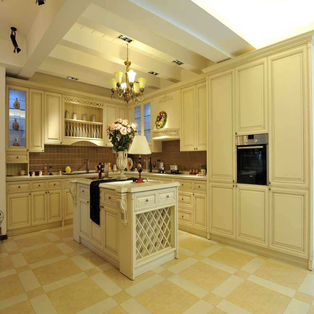 2016 luxury white european style solid wood kitchen for White solid wood kitchen cabinets
