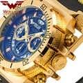 Lobo-CUB Original creativo dorado hombres relojes de pulsera de cuarzo diseño 3D Calendario de acero completo resistente al agua relojes grandes cronógrafo
