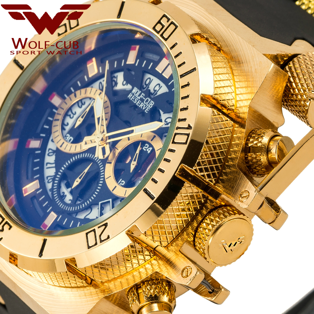WOLF-CUB Original Creative Golden Men Quartz Wristwatches 3D Dial Design Full Steel Calendar Waterproof Big Watches Chronograph