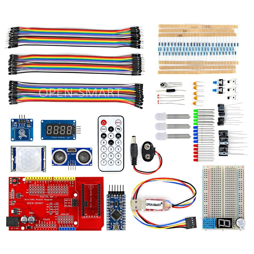 OPEN SMART Pro Mini BreadBoard Kit with IO Expansion Board CH340G Programmer Module Touch Sensor Learning