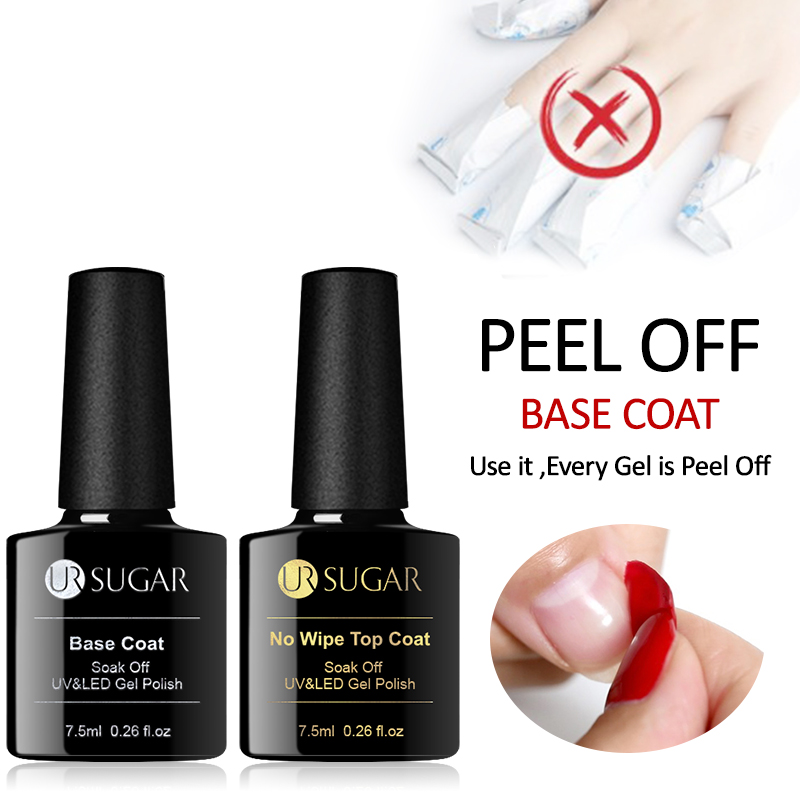 UR SUGAR Gel Nail 7.5 ml Top Coat Top + Base Coat Foundation for UV Gel Polish Best on New Style Nail varnish Varnish