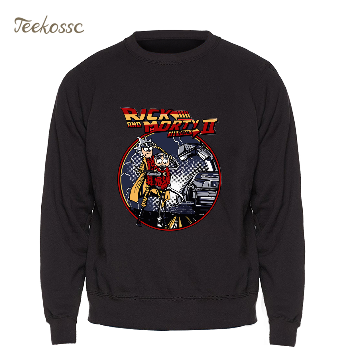 Rick and Morty HoodieMen Back to the future Sweatshirt Anime Funny Crewneck Sweatshirts Winter Autumn Harajuku Black Sportswear