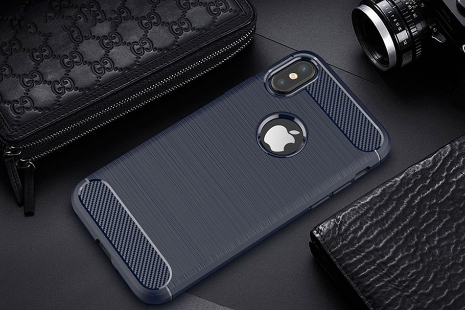 TOMKAS Phone Case Carbon Fiber Cover For iPhone XS Plus X 2018 5.8 6.1 6.5 Inch Soft TPU Silicon Case Protective Back Cover 2018 (13)