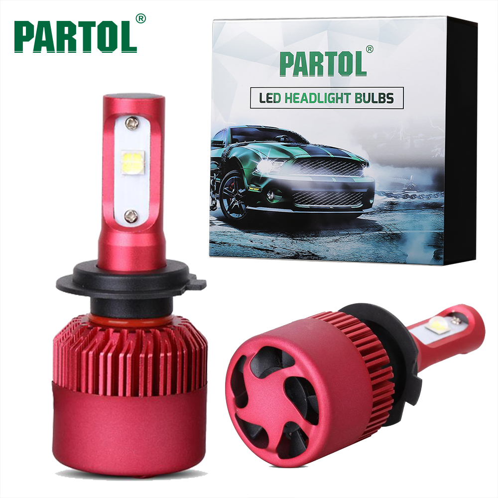 Partol 80W 9600LM H7 H11 H4 LED Car Headlights Bulbs Auto Head Lamp Fog Light Front Bulb Conversion Kit 6500K Hi-Lo Beam 12V 24V